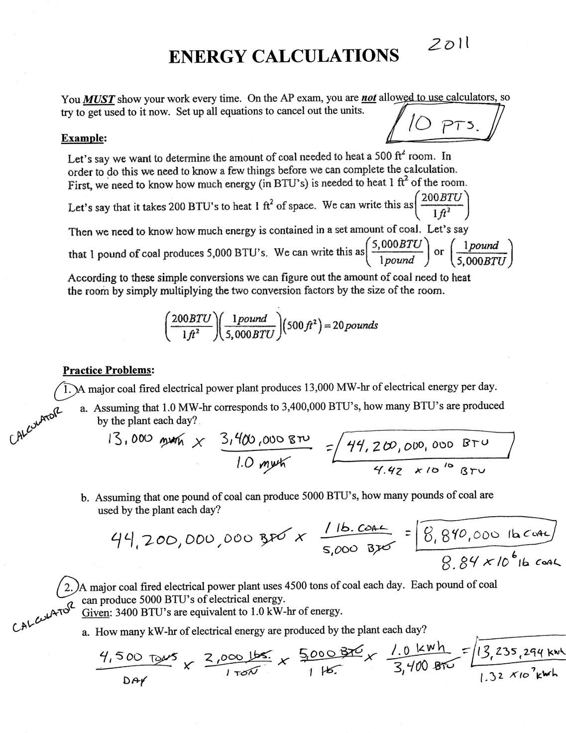 1 free Magazines from KENNEDYAPESWEEBLYCOM – Energy Calculations Worksheet