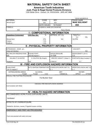 MATERIAL SAFETY DATA SHEET - American Tooth Industries