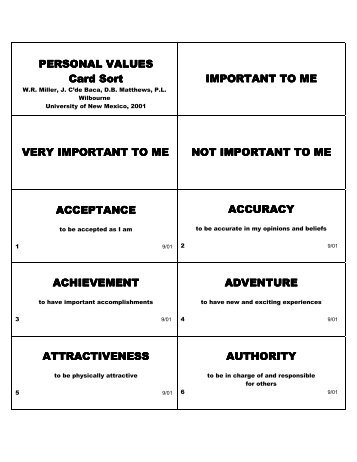 personal values card sort instructions miller