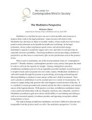 The Meditative Perspective - The Center for Contemplative Mind in ...