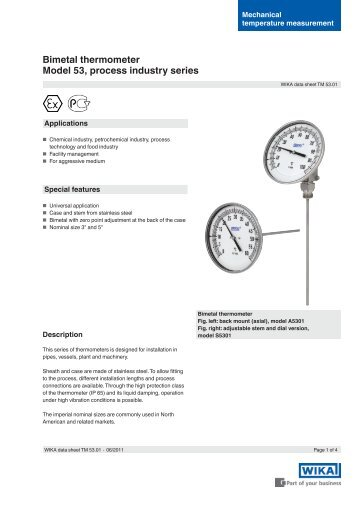 Bimetal thermometer Model 53, process industry ... - BKW Instruments