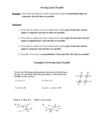 More About Parallel Lines Notes Proving Lines Are Parallel Dual