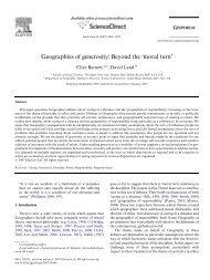 Geographies of generosity: Beyond the 'moral turn'