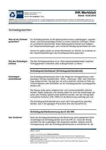 Dienstvertrag Ihk Mittlerer Niederrhein
