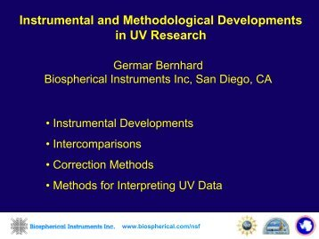 Instrumental and Methodological Developments in UV Research