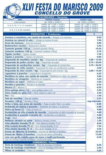 Festa do Marisco 2009 (Listado de Precios) - O Grove