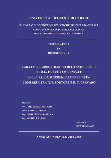 Tesi pubblicata - Geologi Puglia