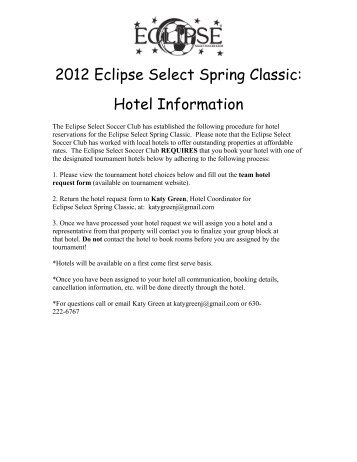 2012 Eclipse Select Spring Classic: Hotel Information