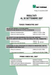 RISULTATI AL 30 SETTEMBRE 2007 - BNP Paribas