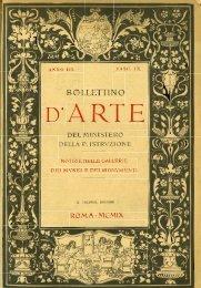 Copertina e controcopertina con sommari - Bollettino d'Arte