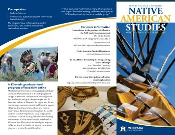 Native americaN StudieS - Extended University - Montana State ...