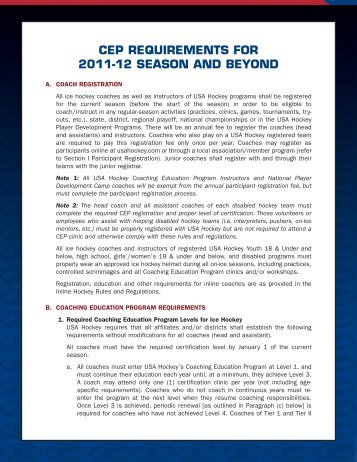 CEP REQUIREMENTS FOR 2011-12 SEASON AND BEYOND