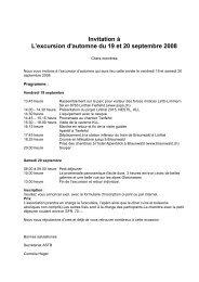 Invitation à L'excursion d'automne du 19 et 20 septembre 2008