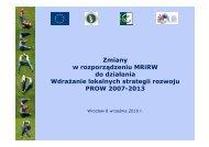 Zmiany w rozporządzeniu MRiRW do działania Wdrażanie ... - KSOW