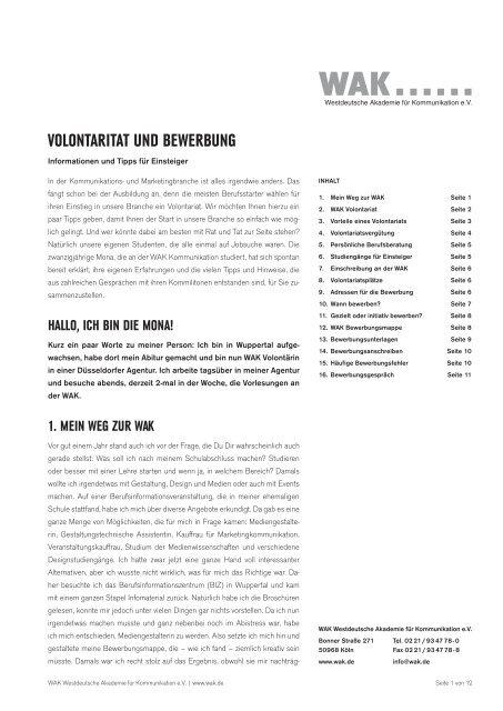 Volontaritat Und Bewerbung Wak Westdeutsche Akademie Fur