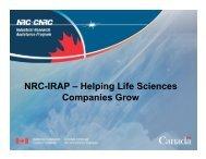 NRC-IRAP – Helping Life Sciences Companies ... - LifeSciences BC