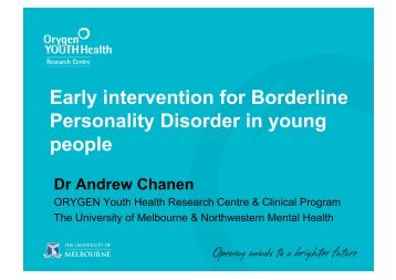 Early intervention for Borderline Personality Disorder in young people