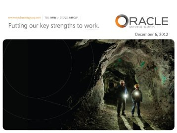 December 6, 2012 - Oracle Mining Corp