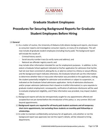 Procedures for Securing Criminal Background Reports for Graduate ...