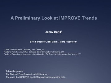 IMPROVE Report Trends Analysis - Colorado State University