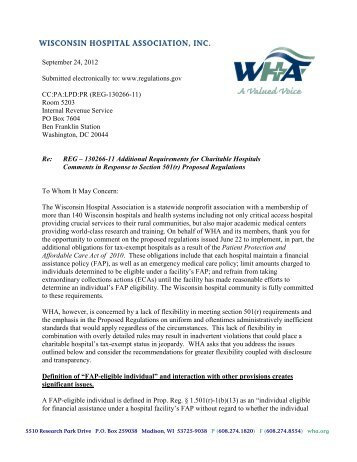 Comments from WHA to the IRS in response to proposed ...