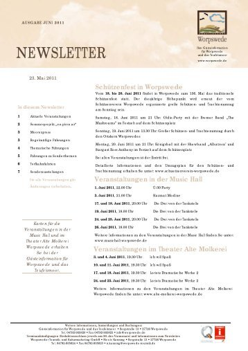Newsletter Juni 2011 - Worpswede
