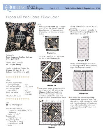 free pattern for a coordinating throw pillow and ... - McCalls Quilting