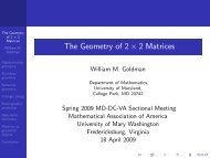 The Geometry of 2 × 2 Matrices - Math Department - University of ...