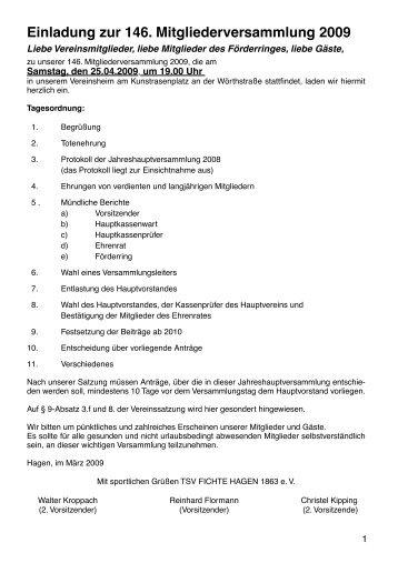 Einladung zur 146. Mitgliederversammlung 2009 - TSV Fichte ...