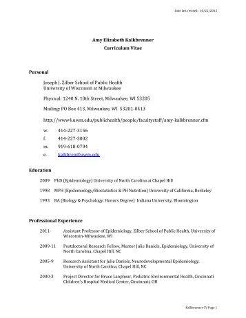 Amy Elizabeth Kalkbrenner Curriculum Vitae ... - UW-Milwaukee