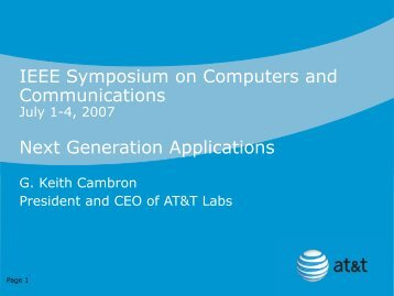 Next Generation Applications (download PDF) - IEEE Symposium ...