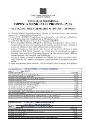 Valori aree fabbricabili 2013 - Comune di Mirandola