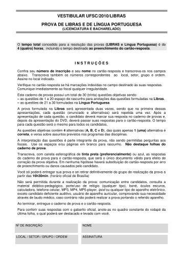 Caderno de Prova - Vestibular UFSC/2010