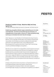Zukunft der Produktion in Europa – Manufuture High Level ... - Festo