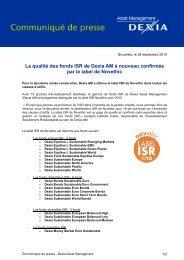 La qualité des fonds ISR de Dexia AM à nouveau confirmée par le ...