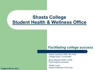 Shasta College Student Health & Wellness Office Services