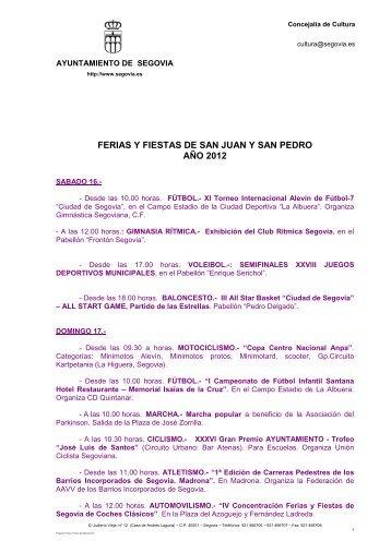 Programa Ferias y Fiestas de Segovia 2012 - Segovia Cultura ...