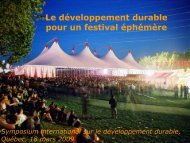 La politique de développement durable du ... - Tourisme Québec