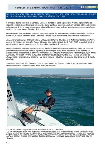 NEWSLETTER DE REMO INDOOR Nº95 – ABRIL 2012