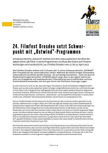 """24. Filmfest Dresden setzt Schwer- punkt mit """"Ostwind""""-Programmen"""