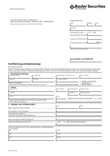 Kasko-Schadenanzeige - Gartenfreunde Bremen