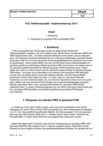 VL5: Softwareprojekt - Implementierung Teil 1 Inhalt 1. Einleitung 2 ...