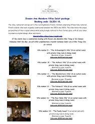 Evason Ana Mandara Villas Dalat package Booking code: DLIEA-VL