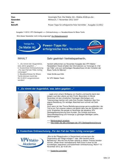 Newsletter November 2012 (PDF) - VPV Makler