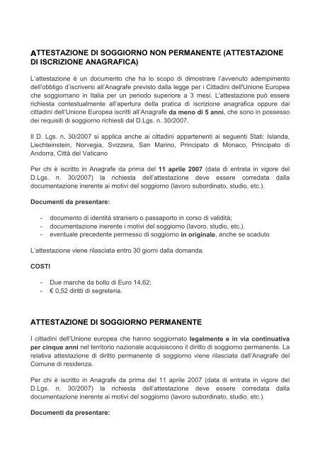 Attestazione di Soggiorno - Comune di Gradara