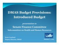 Proposed Budget for the Department of Medical Assistance Services