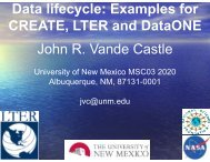 Data lifecycle: Examples for CREATE LTER d D t ONE ... - Geon