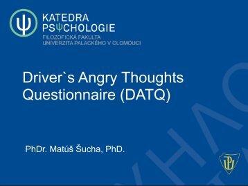 Šucha, Matúš: Dotazník Driver`s Angry Thoughts Questionnaire ...