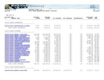 2011 FINAL EXPENDITURE REPORT (AUDITED) - Belknap County