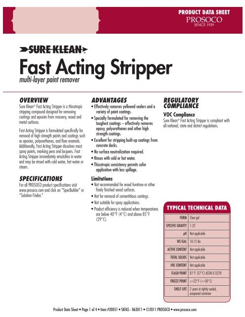 Fast Acting Stripper - PROSOCO, Inc